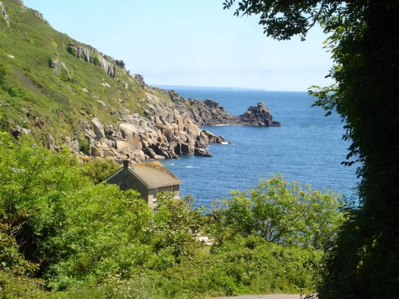 View across Lamorna Cove towards the Lizard
